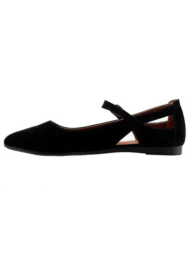 Ayakland Ayakland 1920-201 Günlük Sandalet Bayan Süet Babet Ayakkabı Siyah